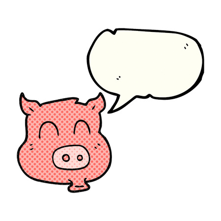 comic bubble: freehand drawn comic book speech bubble cartoon pig Illustration
