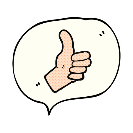 thumbs up sign: freehand drawn comic book speech bubble cartoon thumbs up sign Illustration
