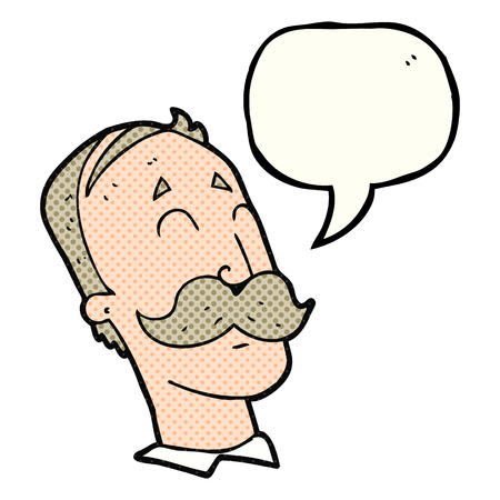 ageing: freehand drawn comic book speech bubble cartoon ageing man with mustache Illustration
