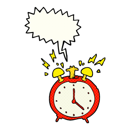 comic bubble: freehand drawn comic book speech bubble cartoon ringing alarm clock Illustration