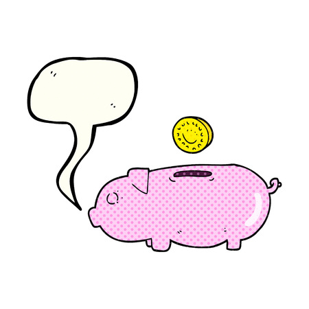 comic bubble: freehand drawn comic book speech bubble cartoon piggy bank