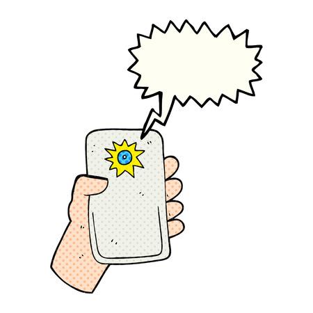 taking: freehand drawn comic book speech bubble cartoon camera taking photo