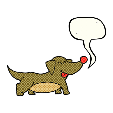 little dog: freehand drawn comic book speech bubble cartoon happy little dog