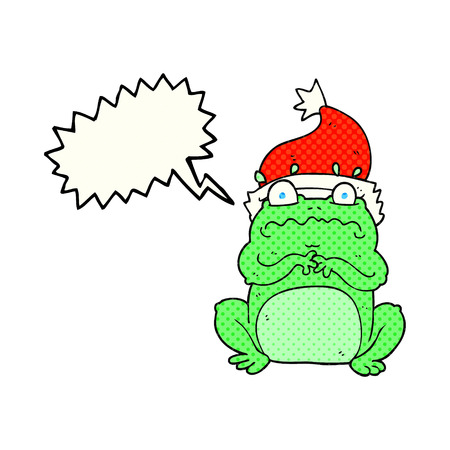 christmas frog: freehand drawn comic book speech bubble cartoon frog in christmas hat Illustration