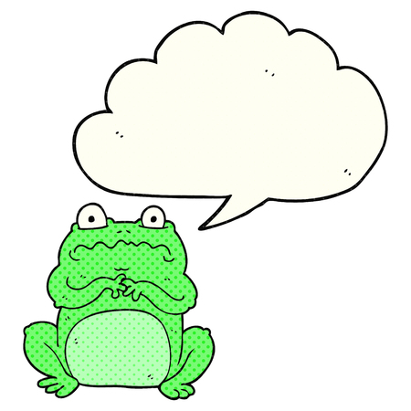 cute frog: freehand drawn comic book speech bubble cartoon funny frog Illustration