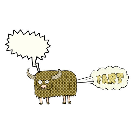 farting: freehand drawn comic book speech bubble cartoon hairy cow farting