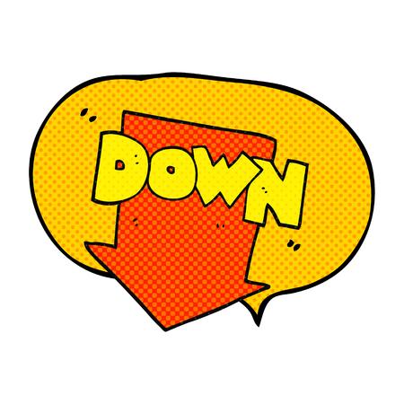 Freehand Drawn Comic Book Speech Bubble Cartoon Down Arrow Symbol