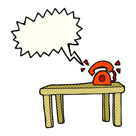 ringing: freehand drawn comic book speech bubble cartoon phone ringing on desk