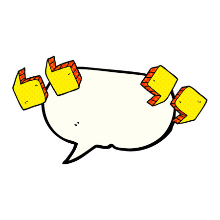 quotation marks: freehand drawn comic book speech bubble cartoon quotation marks