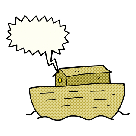 freehand drawn comic book speech bubble cartoon noahs ark Illustration