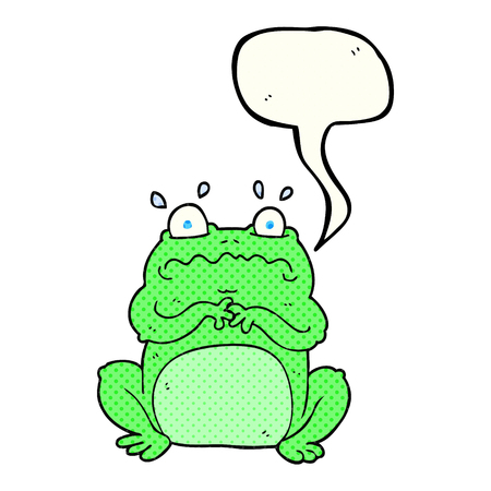 comic bubble: freehand drawn comic book speech bubble cartoon funny frog Illustration