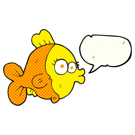 comic bubble: funny freehand drawn comic book speech bubble cartoon fish