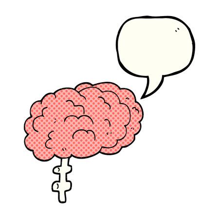 free the brain: freehand drawn comic book speech bubble cartoon brain