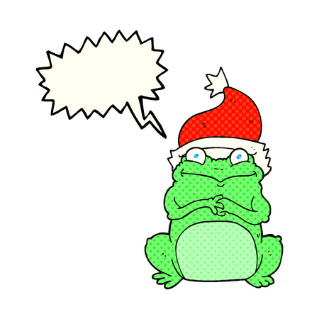 christmas frog: freehand drawn comic book speech bubble cartoon frog wearing christmas hat