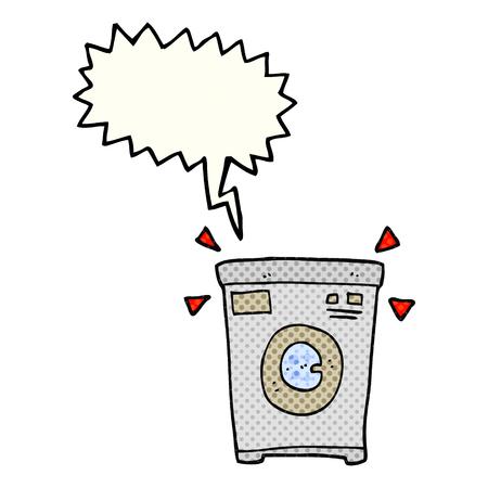 cartoon washing: freehand drawn comic book speech bubble cartoon washing machine
