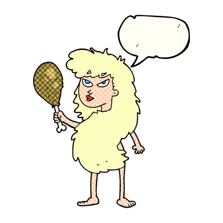 freehand drawn comic book speech bubble cartoon cavewoman with meat