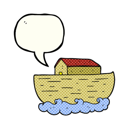 ark: freehand drawn comic book speech bubble cartoon noahs ark Illustration