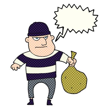 loot: freehand drawn comic book speech bubble cartoon burglar with loot bag