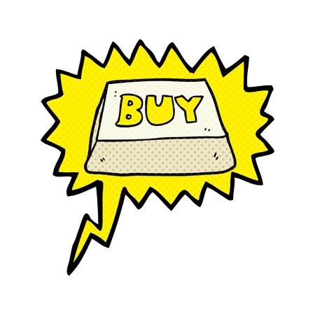 hand key: freehand drawn comic book speech bubble cartoon computer key buy symbol Illustration