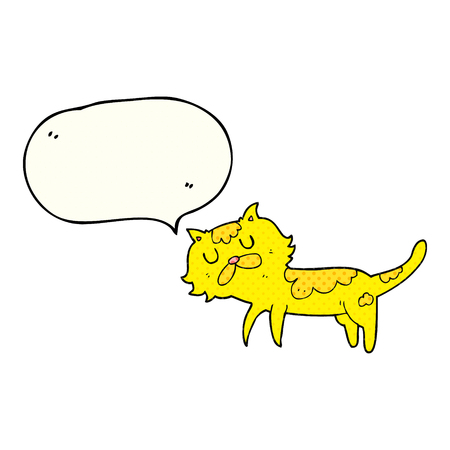 comic bubble: freehand drawn comic book speech bubble cartoon cat