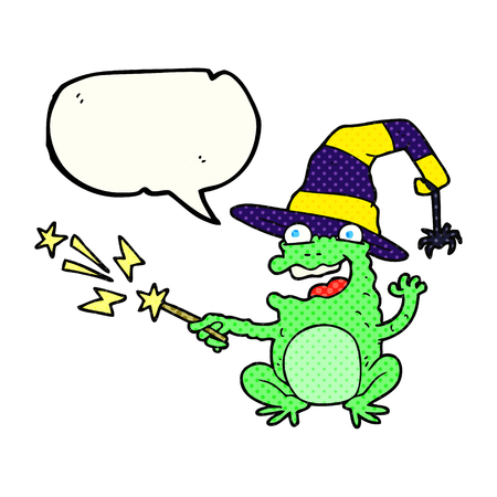 spell: freehand drawn comic book speech bubble cartoon toad casting spell