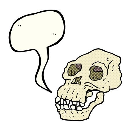proto: freehand drawn comic book speech bubble cartoon ancient skull