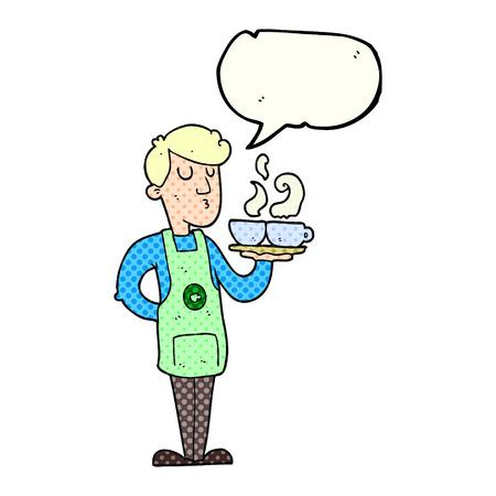barista: freehand drawn comic book speech bubble cartoon barista serving coffee Illustration