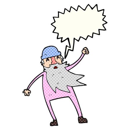 slip homme: freehand discours de bande dessinée dessinée bande dessinée à bulles vieil homme en sous-vêtements thermiques Illustration