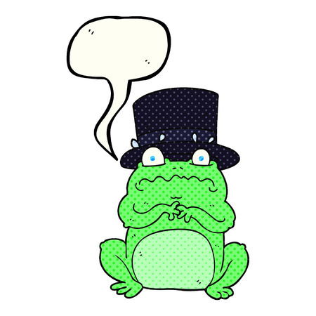 wealthy: freehand drawn comic book speech bubble cartoon wealthy toad Illustration