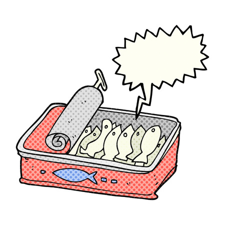sardines: freehand drawn comic book speech bubble cartoon can of sardines