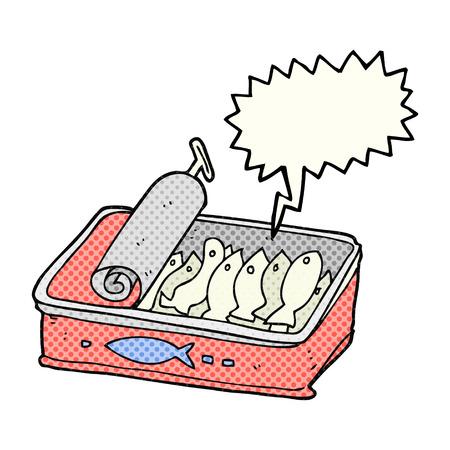 sardines: freehand drawn comic book speech bubble cartoon can of sardines