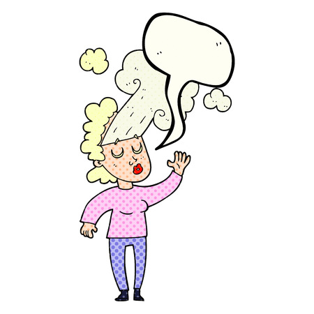 letting: freehand drawn comic book speech bubble cartoon woman letting off steam