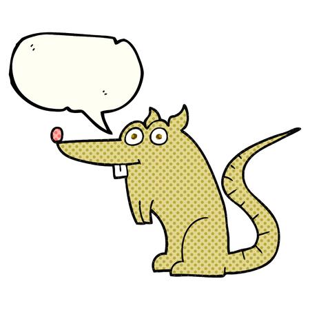 crazy: freehand drawn comic book speech bubble cartoon rat Illustration