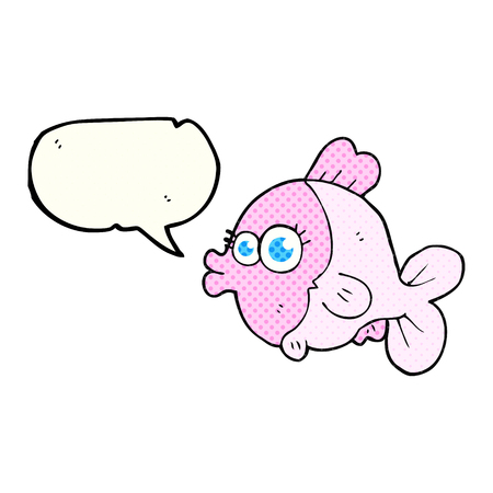 pretty eyes: funny freehand drawn comic book speech bubble cartoon fish with big pretty eyes Illustration