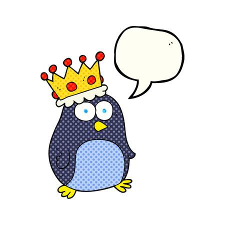 emperor: freehand drawn comic book speech bubble cartoon emperor penguin Illustration