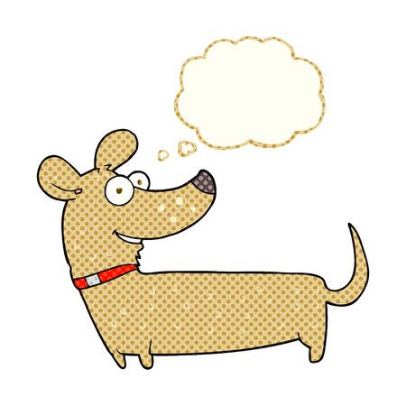 cartoon dog: freehand drawn thought bubble cartoon happy dog