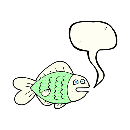 funny fish: freehand drawn comic book speech bubble cartoon funny fish Illustration