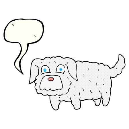 small dog: freehand drawn comic book speech bubble cartoon small dog Illustration