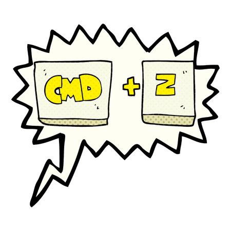 function key: freehand drawn comic book speech bubble cartoon command Z function