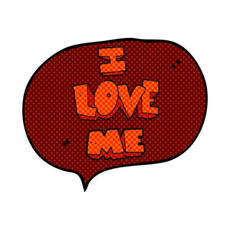 affirmation: i love me freehand drawn comic book speech bubble cartoon symbol Illustration