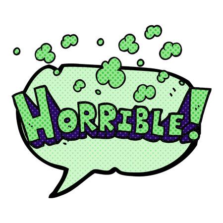 horrible: freehand drawn comic book speech bubble cartoon word horrible Illustration