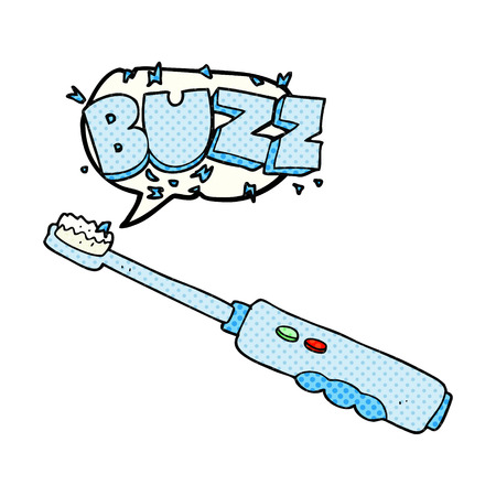 buzzing: freehand drawn comic book speech bubble cartoon buzzing electric toothbrush Illustration