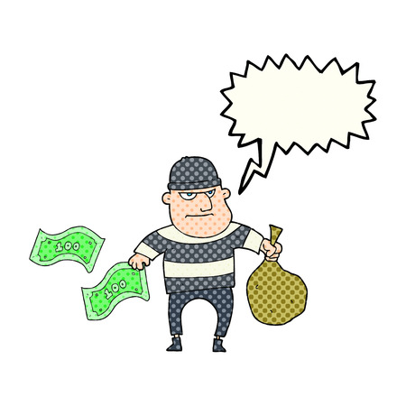 bank robber: freehand drawn comic book speech bubble cartoon bank robber Illustration