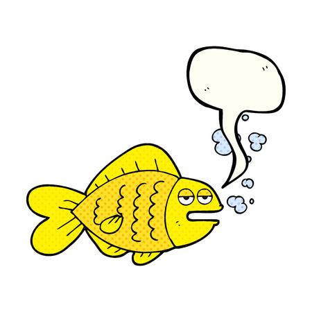 funny fish: freehand drawn comic book speech bubble cartoon funny fish Illustration