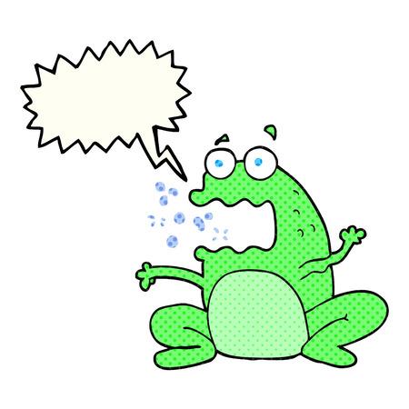 burping: freehand drawn comic book speech bubble cartoon burping frog