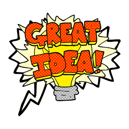 great idea: freehand drawn comic book speech bubble cartoon great idea light bulb symbol