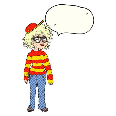 geeky: freehand drawn comic book speech bubble cartoon geeky girl