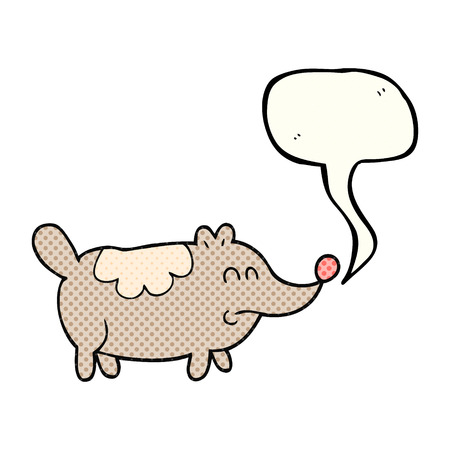 fat dog: freehand drawn comic book speech bubble cartoon small fat dog Illustration