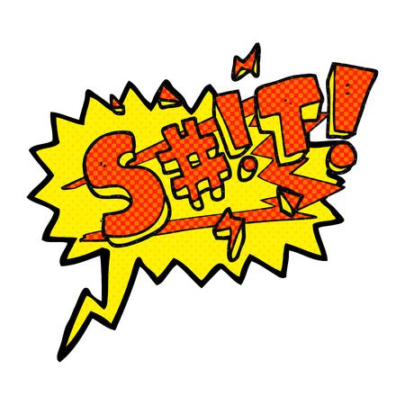 obscenity: freehand drawn comic book speech bubble cartoon swearword Illustration