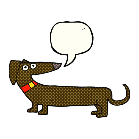sausage dog: freehand drawn comic book speech bubble cartoon sausage dog